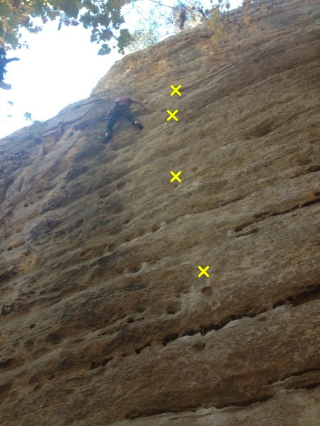 1st bolt is out of frame, the crux section is between the 4th and 5th (last bolt marked) bolts