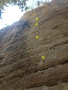 Rock Climbing Photo: 1st bolt is out of frame, the crux section is betw...
