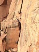 Rock Climbing Photo: Johnny K following the 5.10+ OW corner at the base...