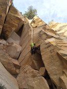 Rock Climbing Photo: Johnny K bustin' a move on the final 5.10 fist cra...