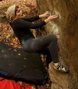 Rock Climbing Photo: Working on Fire Starter in Rumney.