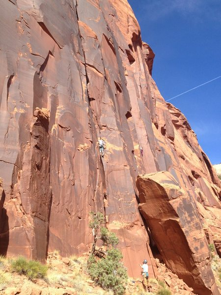 Amy about half way up with Luke belaying.