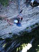 Rock Climbing Photo: Brian on the final moves of the last pitch