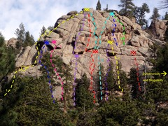 Rock Climbing Photo: West Crag:  1) Bi-level Dihedral, 5.7. 2) End of A...