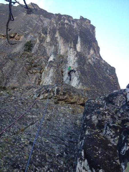 Rock Climbing Photo: At the top of the first pitch looking towards the ...