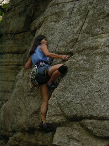 Jannette Pazer climbing Squiggles Direct, 2007