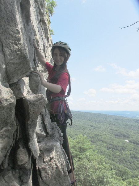 ALEXA CHALNICK 13 YEARS OLD POISED WITH CONFIDENCE ON THE SECOND PITCH OF THREE PINES 5.3 IN THE GUNKS NY 2014 (Daddy daughter dates don't get better than this!)