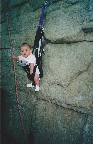 "STARTING THEM OFF YOUNG. ALEXA CHALNICK AT 3 MONTHS ""HANGING OUT"" ON LAUREL IN THE GUNKS NY SPRING 2001"