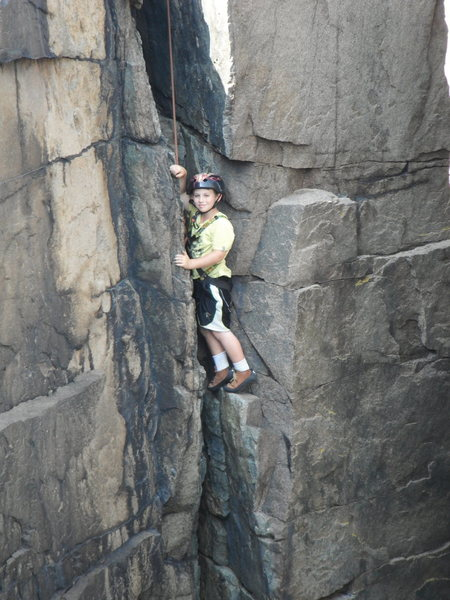 JONAH CHALNICK AT 8 YEARS OLD CLIMBING GUILLEMOT CRACK 5.6, OTTER CLIFFS ACADIA NATIONAL PARK