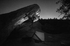 Rock Climbing Photo: Will Cornell night climbing The Fang.
