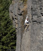 Rock Climbing Photo: Bill on FA of Trad Dad, Jeff Thomas photo