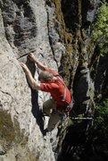 Rock Climbing Photo: Bill Coe leading the FA of Hot Pockets Photo Jeff ...
