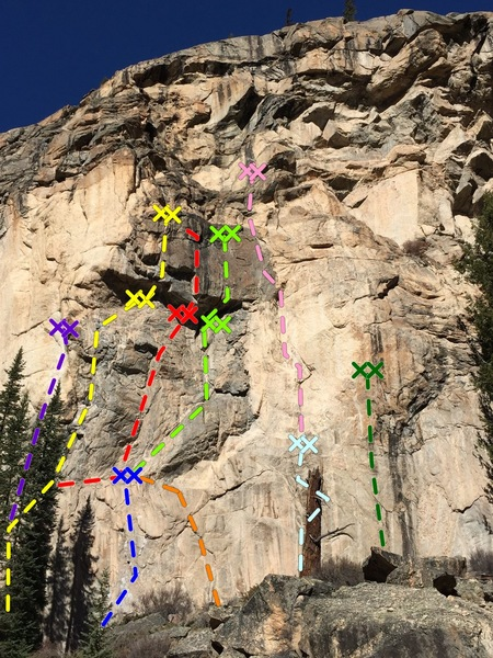 Lower Grotto Wall - Center<br> <br> Purple - The Engagement.<br> Yellow - Victims of Fashion.<br> Red - Rocket Man Dihedral.<br> Light Green - Bicentennial Roof.<br> Blue - Scene of the Crime.<br> Orange - Pea Brain.<br> Light Blue - The Knucklehead.<br> Pink - Girly Man.<br> Dark Green - Insurrection.