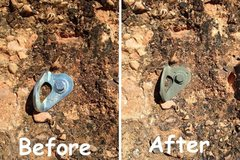 Rock Climbing Photo: Shiny bolt, before and after.