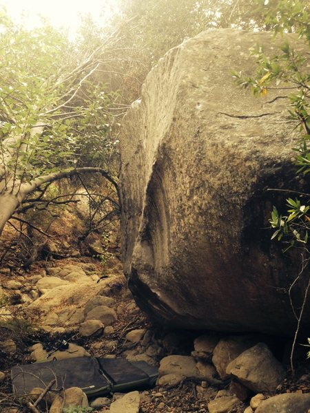When I scoped this boulder out last year, there was a full-on stream where the pads sit.