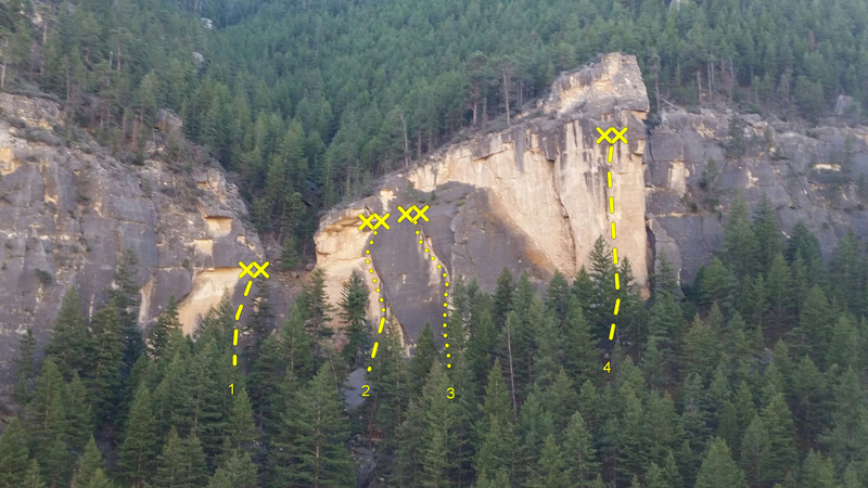 Rock Climbing Photo: Routes from left to right: 1)Access Route, 2)S.W.A...