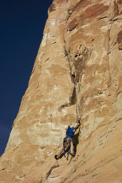 Roy Suggett, cleaning on toprope and freeing much of the climbing.