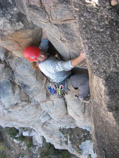 Rock Climbing Photo: near the top of Believer