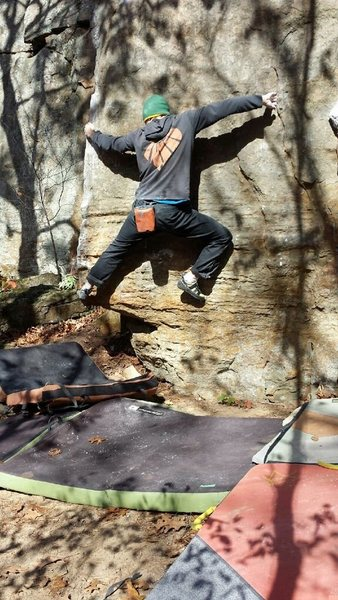 Rock Climbing Photo: Moving right through a shouldery move to gain the ...