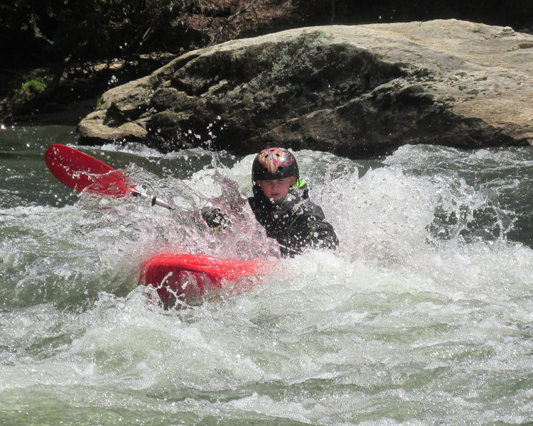 Jonah slicing thru Blackberry Falls rapid  on the Cartecay River in Georgia spring 2014