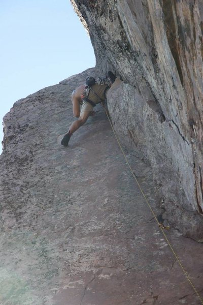 Rock Climbing Photo: Tony Young approaching the sustained pumpy top sec...