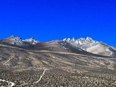 Rock Climbing Photo: Heller Rocks from HWY 395, Indian Wells Canyon