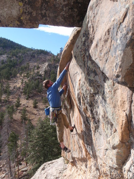 Rock Climbing Photo: Steve on the crux of Grace and Power.
