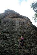 Rock Climbing Photo: A little rain won't stop stonemaster kimie