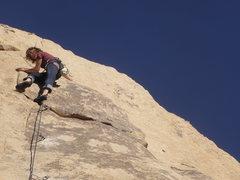Rock Climbing Photo: Kelsey Gaarder leading Santa On Crack.