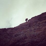 Rock Climbing Photo: Rapping off of cTr on a crazy windy day. The rope ...