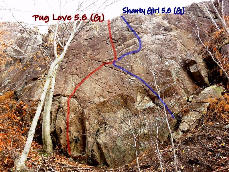 Rock Climbing Photo: Route photo of Pug Love and Shanty Girl Wall.