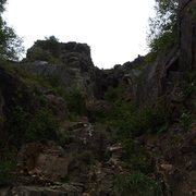 Rock Climbing Photo: Unclimbed gulley?  1 over from green's.  Steep cav...