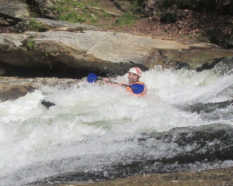 Randy getting swallowed up on the Cartecay River.