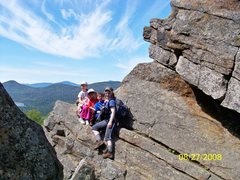 Rock Climbing Photo: Sheri and the kids hanging out on Chimney Mnt. Adi...