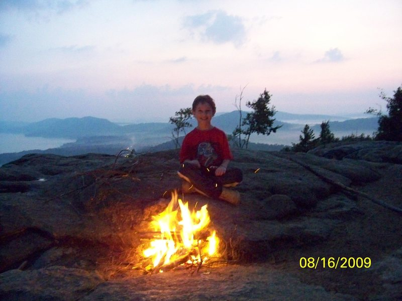 Zachary camping out on summit of Rocky Mountain, Old Forge NY