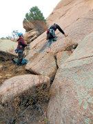 Rock Climbing Photo: Matt starting up as Dara belays.