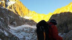 Rock Climbing Photo: Mike W at Chasm Lake- longs Peak-10/29/14