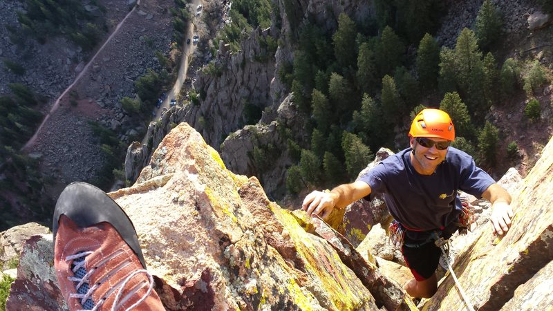 Rock Climbing Photo: Mike W on Green Slab- Eldorado Springs. Oct 2014.