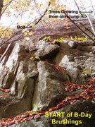 Rock Climbing Photo: Looking at START of B-Day Brushings from Below