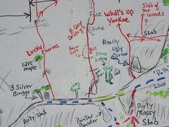 Rock Climbing Photo: DETAIL of topo around B-Day (for full topo, see po...