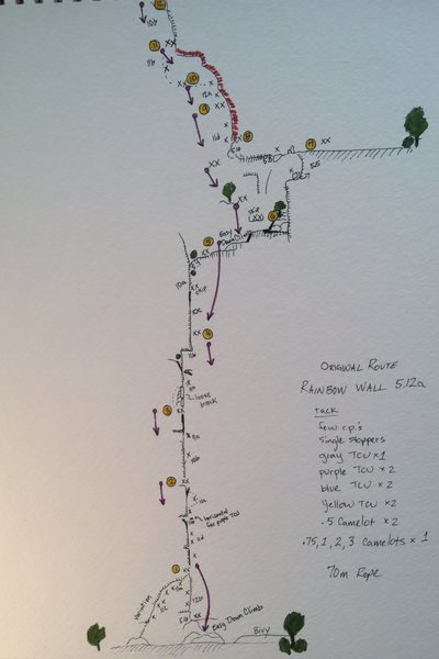 Topo for Rainbow Wall, Original Route