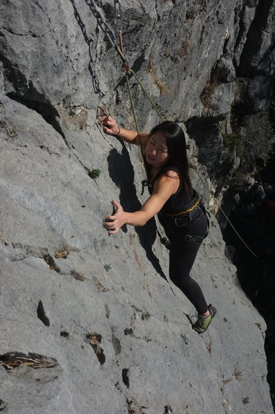 Rock Climbing Photo: crux last move, just where it should be!