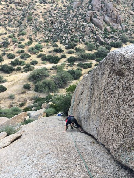 Micah on Sassy.  Very low angle climb, but still fun enough to do each time if at the GM area.