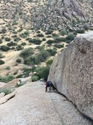 Rock Climbing Photo: Micah on Sassy.  Very low angle climb, but still f...