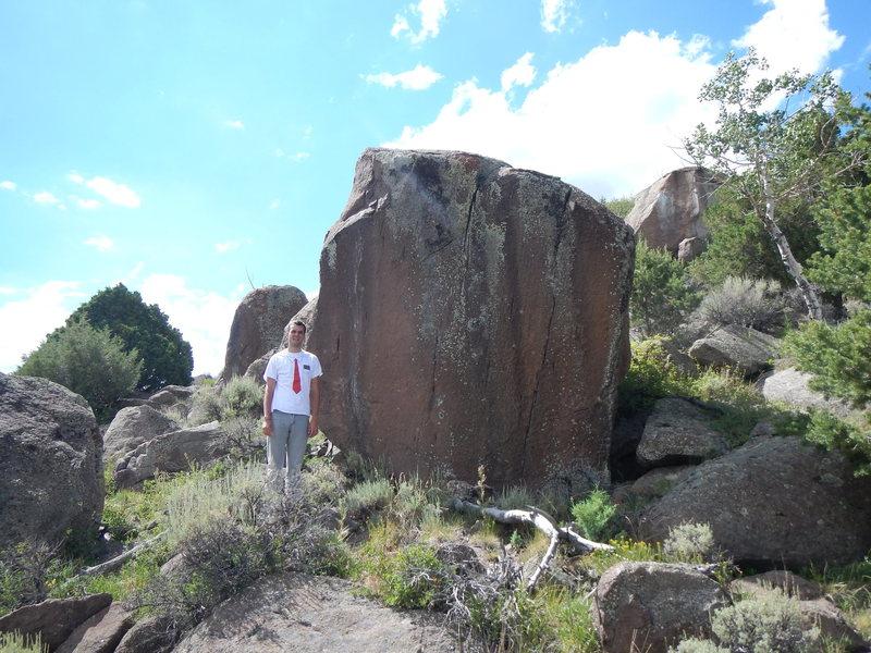 Rock Climbing Photo: Seth standing next to the hardest problem we found...