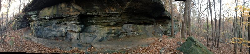 Here is a pano of the secret sandbox cave.  It is hard to tell in this picture, but it is about 20 feet high and a few hundred feet wide.  Plenty of climbing options!