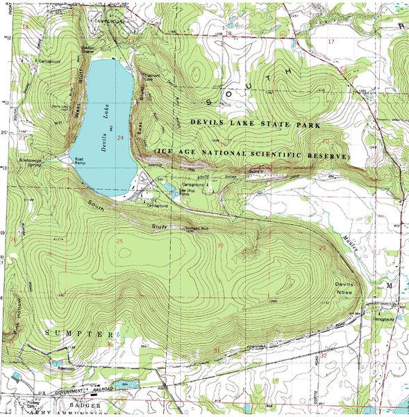 """Rock Climbing Photo: DLSP portion of the USGS 7.5"""" quadrangle."""