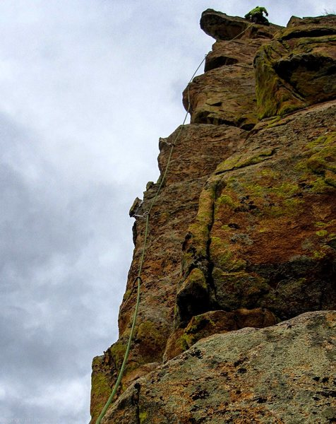 Above the crux on the FFA.