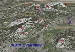 Rock Climbing Photo: Photo description (Blair Overview)   A nearly 3D o...