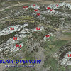 Photo description (Blair Overview)   A nearly 3D overview of the entire Blair Area as seen from above.  An arbitrary (yellow) line has been drawn to indicate how Upper Blair actually sits about 200' higher than Lower Blair, making it quite easy to separate the two for identification purposes as well as their inclusive formations. Each (<em>i.e.</em> both 'Upper' and 'Lower' Blairs) will be illustrated separately with more detail on their respective pages.<br> <br> Abbreviations:<br> Upper Blair:  EC = East Corner, H = The Heap, JT = John's Tower, LJT = Little John's Tower, NC = North Corner, SC = South Corner, SMB = Spectreman Buttress, WC = West Corner.<br> Lower Blair:  B1 = Blair 1, B1a = Blair 1 Annex, B2 = Blair 2, B3 = Blair 3, GR = Goldirocks, LB = Little Blair.<br> @POUND@707 = USFS Road 707.